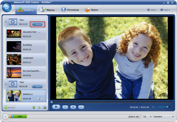 aimersoft dvd creator add