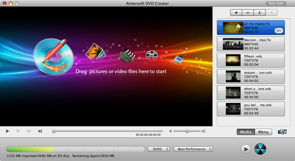 aimersoft mac dvd creator add