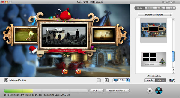 aimersoft mac dvd creator menu