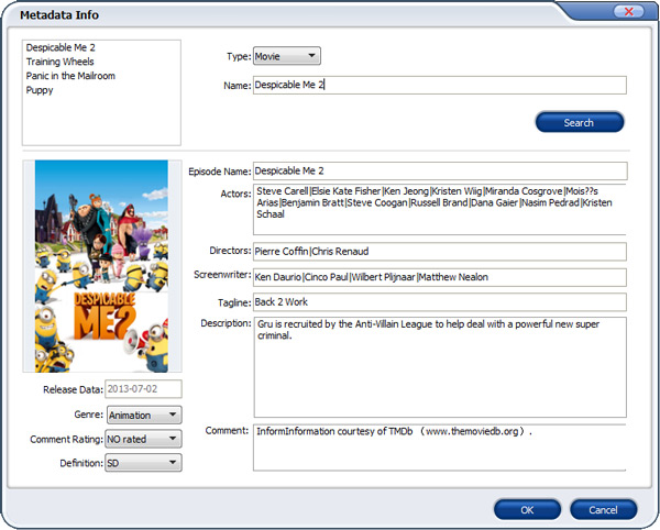 Add metadata to DVD movies - Aimersoft DVD Ripper